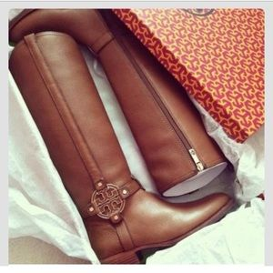 Tall Brown Leather Tory Burch Amanda Riding Boots